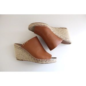 •ANTHRO [SOLUDOS] COGNAC LEATHER WEDGE ESPADRILLE•